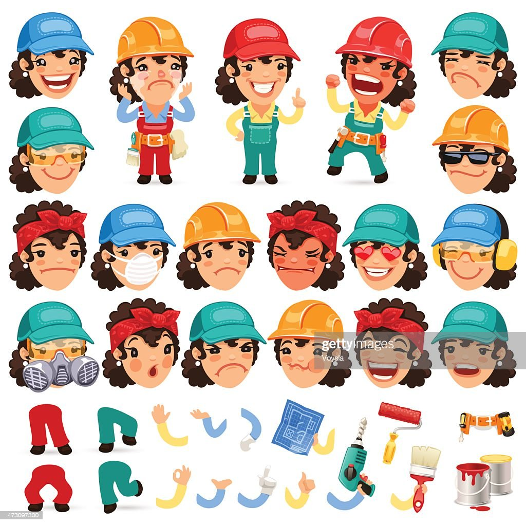 Set of Cartoon Lady Worker Character for Your Design