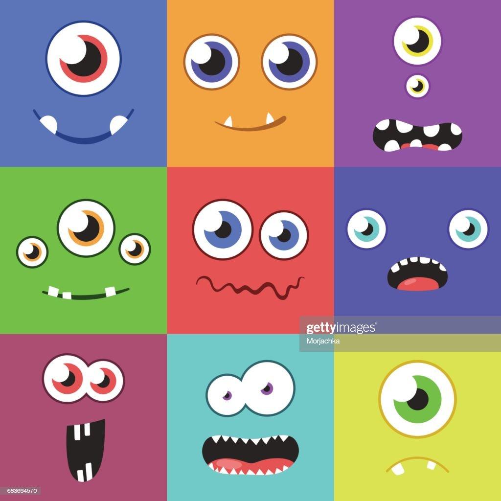 Satz Von Cartoon Monster Gesichter Mit Verschiedenen Ausdruck Von ...