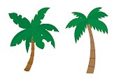 Set of cartoon palms with brown trunk and green leafs painted by flat design - vector illustration isolated on white background