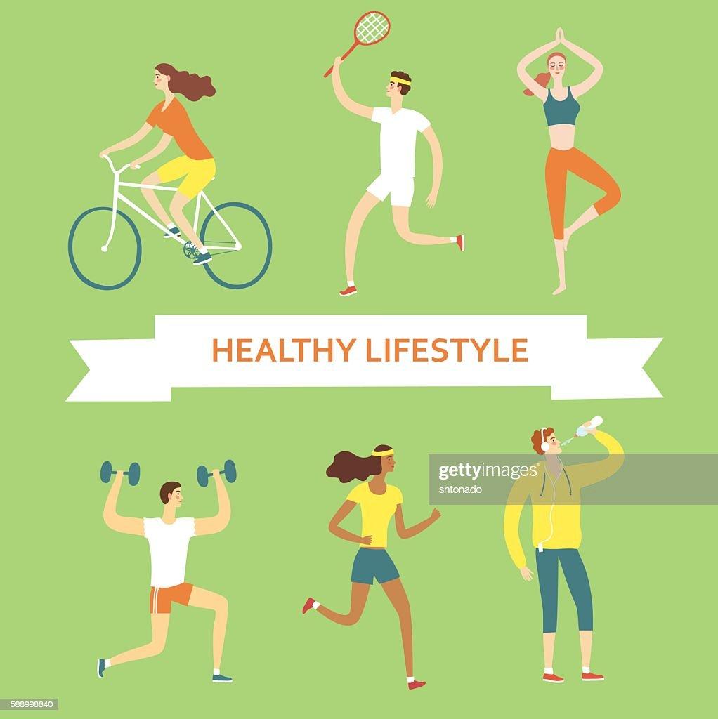 Set of cartoon people doing sport exercises