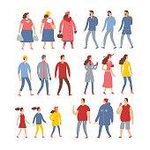 Set of cartoon people in seasonal clothes.