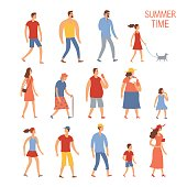 Set of cartoon people in summer clothes