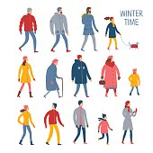 Set of cartoon people in winter clothes.