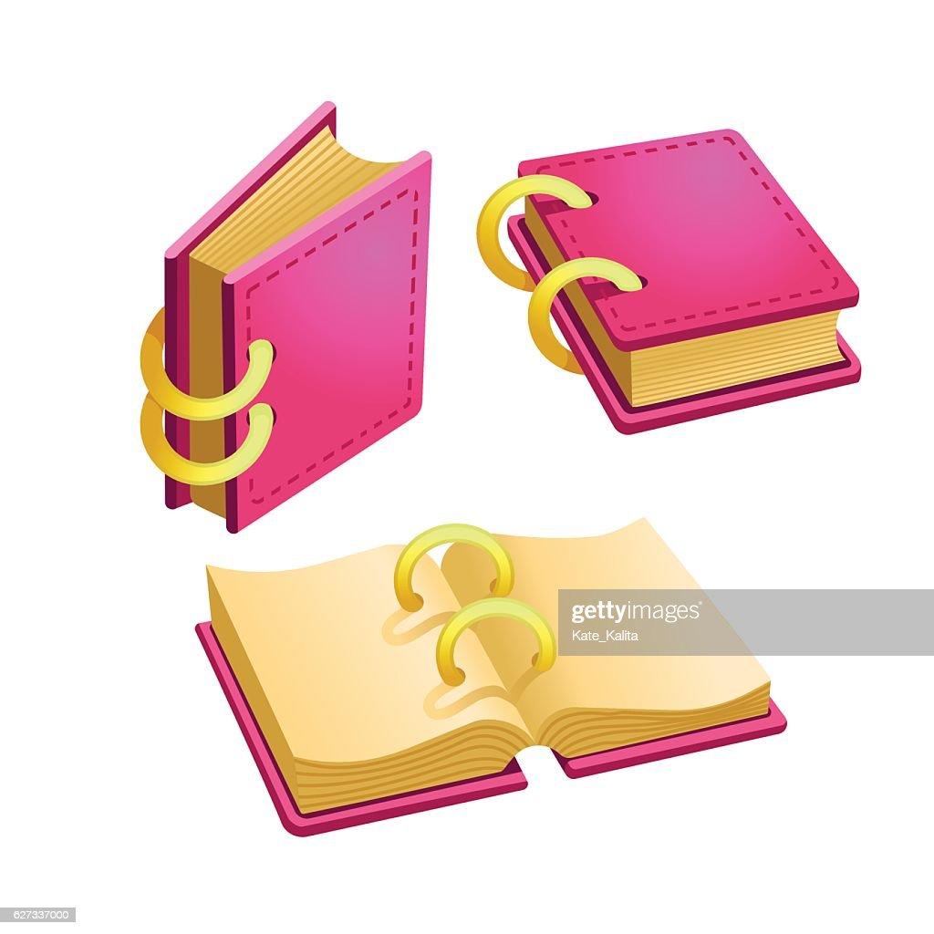 Set of cartoon pink book