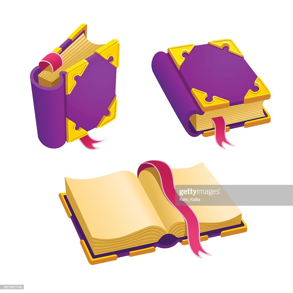 Set of cartoon purple book