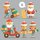 Set of cartoon Santa Clauses in a flat style.