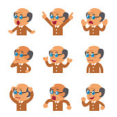 Set of cartoon senior man faces showing different emotions