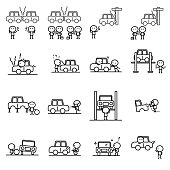 Set of Cartoon simple outline variety activities of car accident and garage concept for vector graphic design