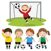 Set of cartoon soccer kids with different pose