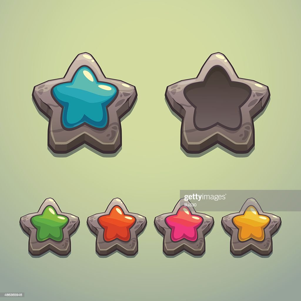 Set of cartoon stone stars