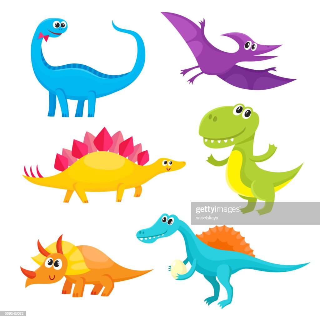 Set of cartoon style cute and funny smiling baby dinosaurs