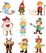 Set of cartoon styled fairytale icons
