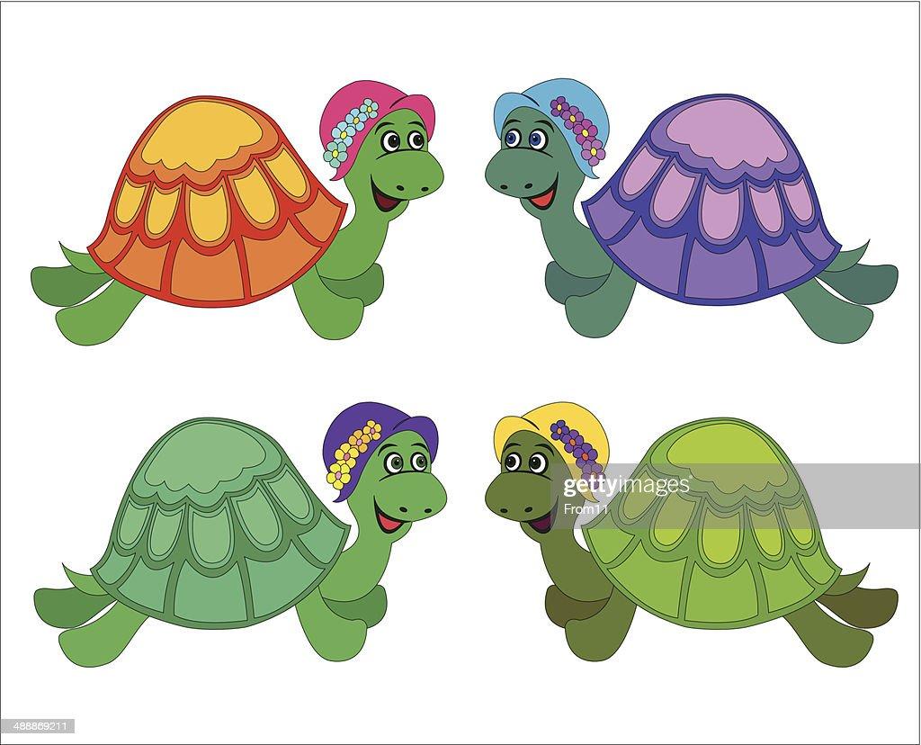 set of cartoon turtle
