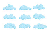 Set of cartoon vector clouds. Isolated Illustration.