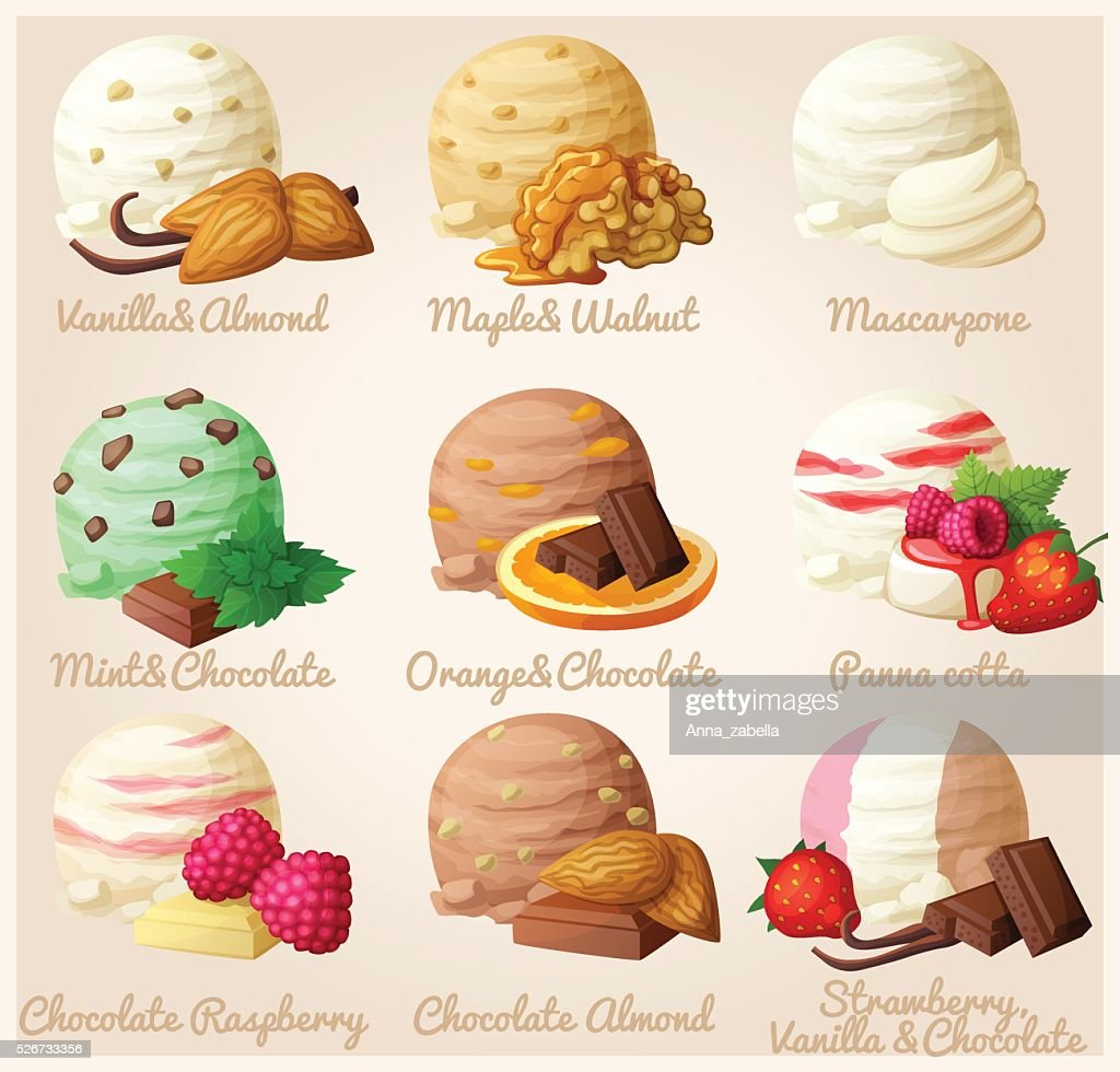 Set of cartoon vector icons. Ice cream scoops with different