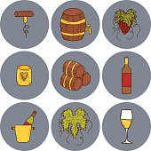 Set of cartoon wine icons in hand drawn style: bottle