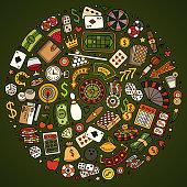 Set of Casino cartoon doodle objects