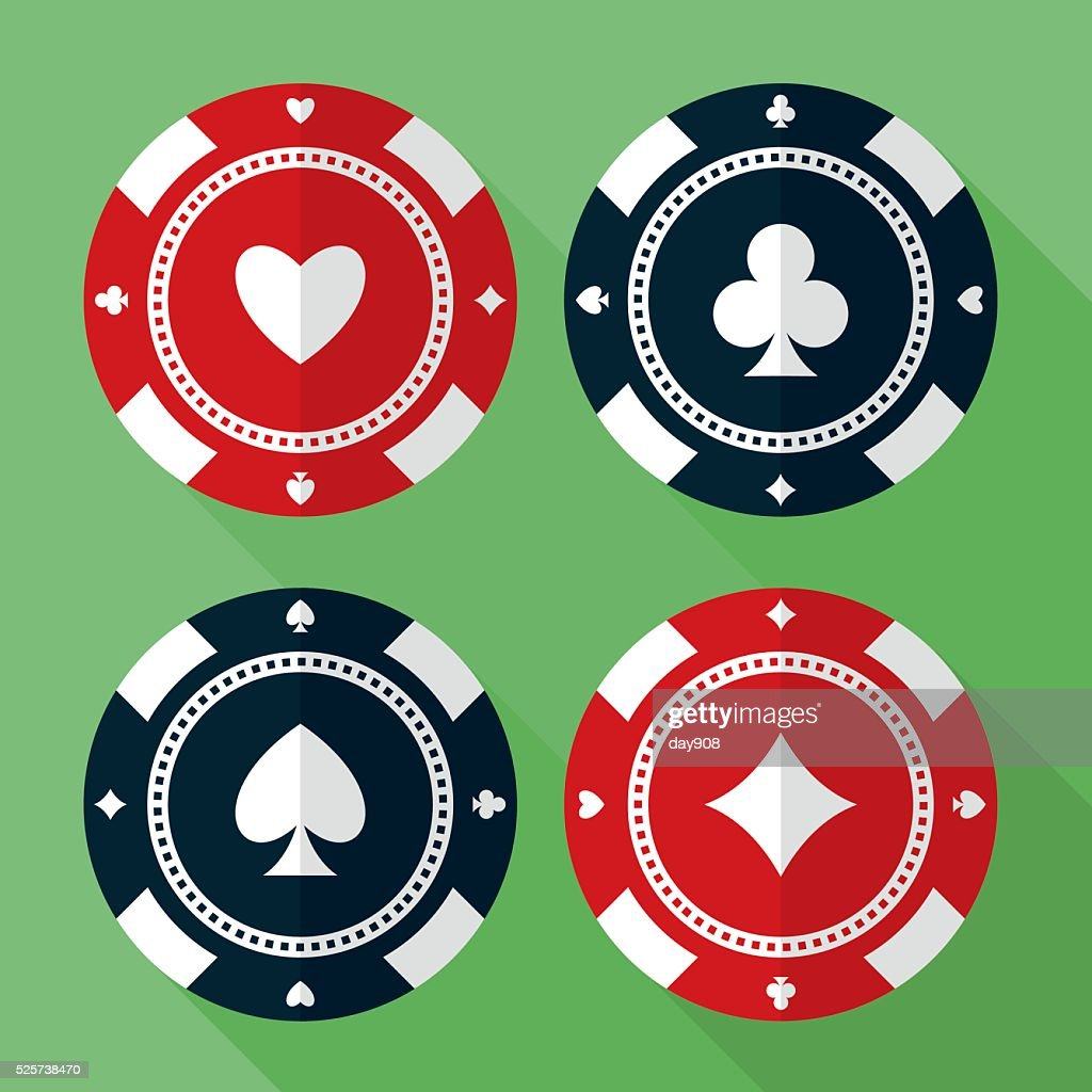 Set of casino gambling chips vector flat icons