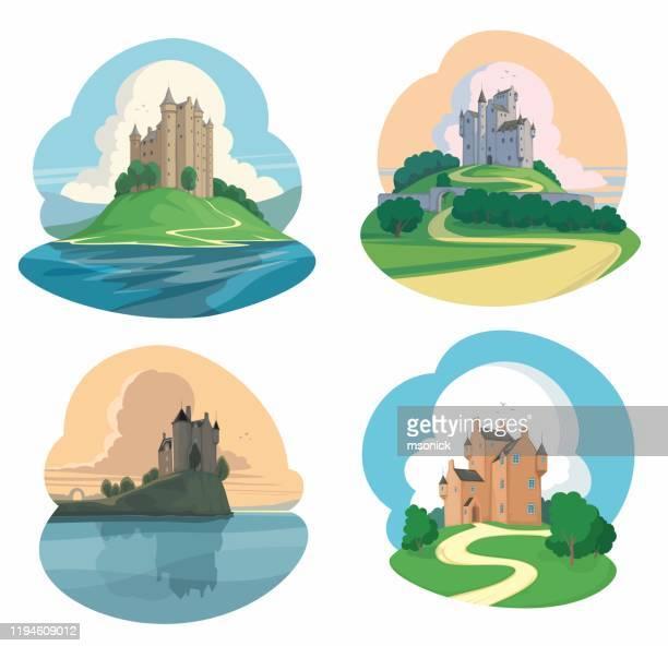 ilustrações de stock, clip art, desenhos animados e ícones de set of castles - castle