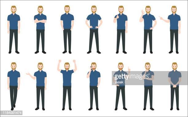 illustrazioni stock, clip art, cartoni animati e icone di tendenza di set of causal businessman isolated on white background - maglietta polo