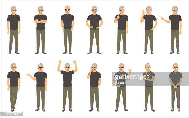 set of causal businessman isolated on white background - senior citizen clipart stock illustrations
