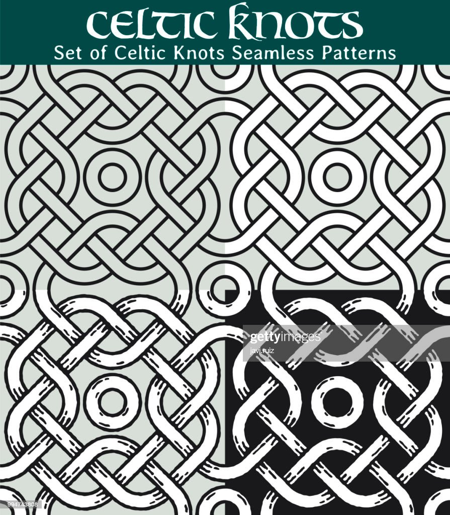 Set of Celtic Knots Seamless Patterns