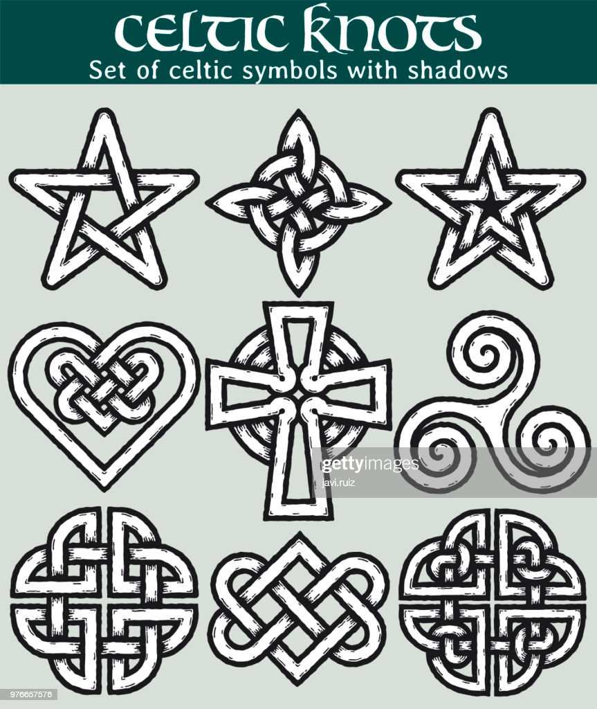 Set of celtic symbols with shadows
