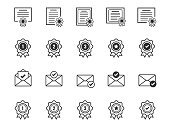 Set of Certificate and Award medal icons. Accepted approve and Confirm mail symbols.