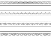Set of chains web page dividers. Contour lines