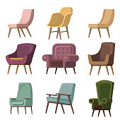 Set of Chair to use in animation, illustration, scene, background, cartoon, etc