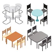 Set of chairs and and tables. Flat isometric.