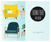 A set of chairs. Interior. Furniture design.