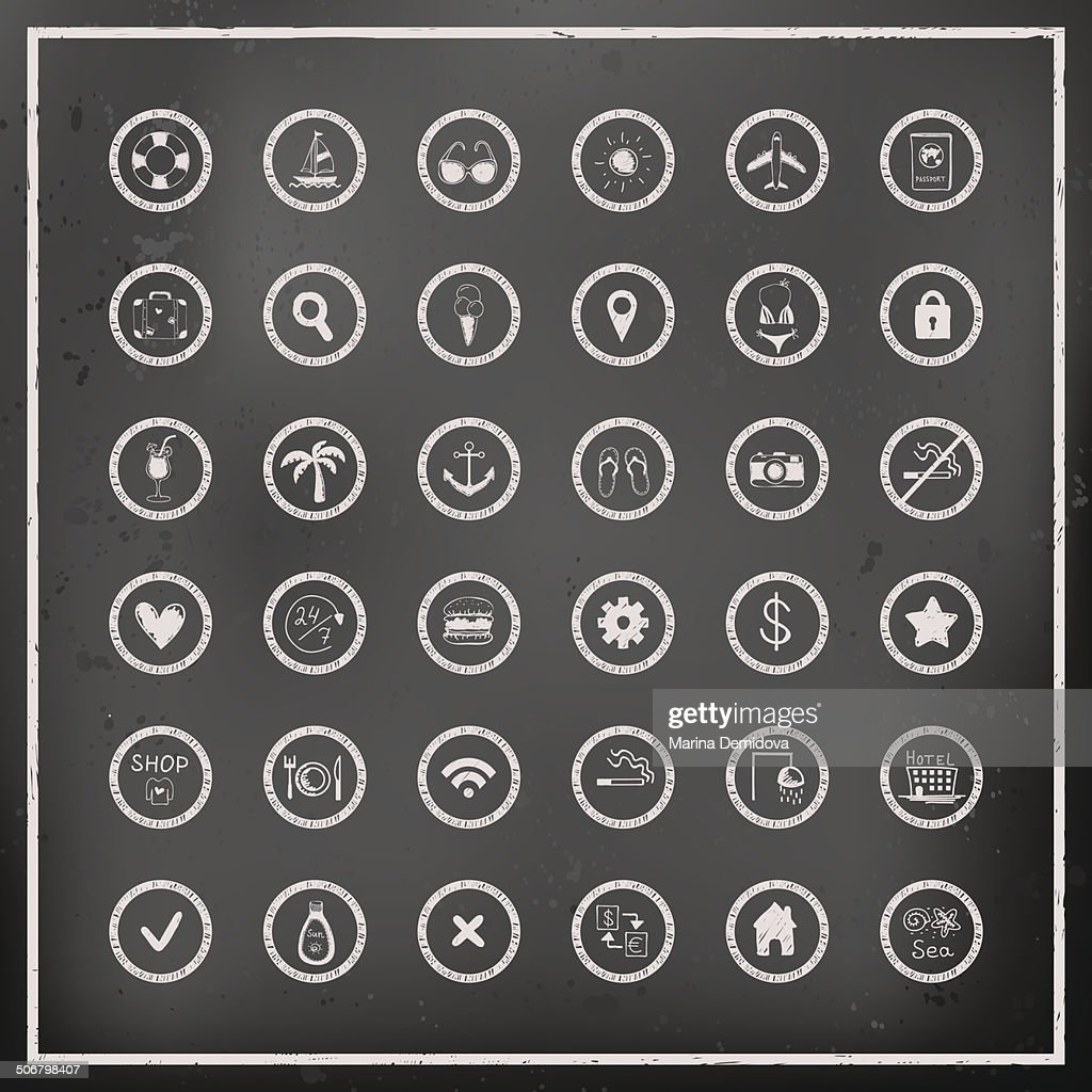 Set of chalk board vector travel icons