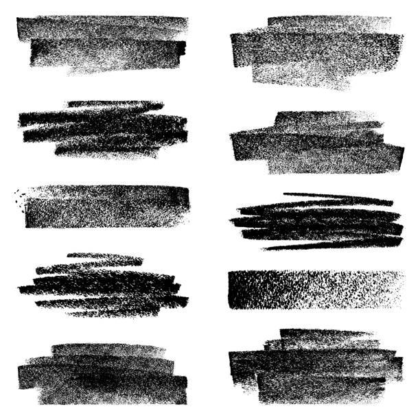 set of chalk strokes - pastel stock illustrations