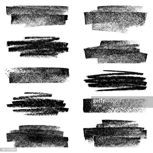 set of chalk strokes - paint textures stock illustrations