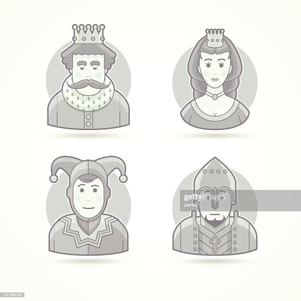 Set of character, avatar and person vector illustrations.