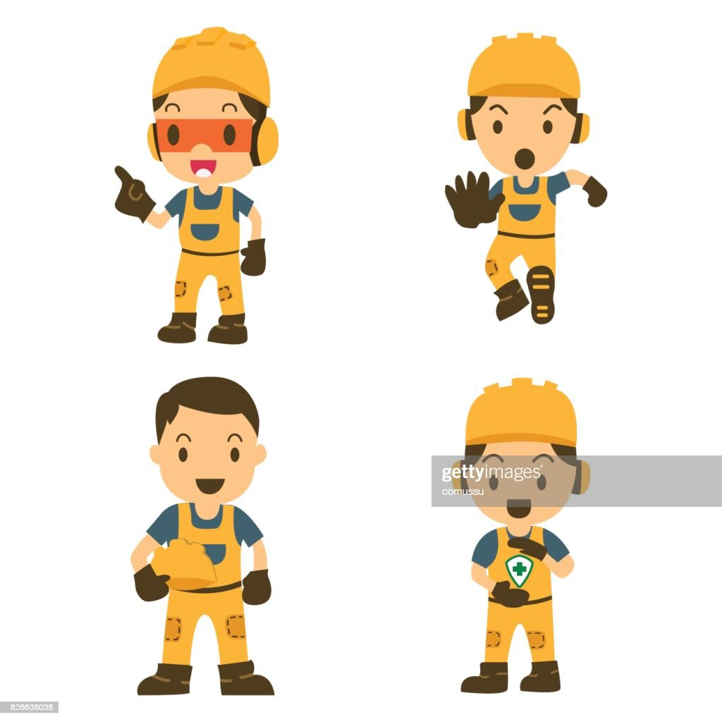 Set of Character Constructor worker in various situations. Vector illustration