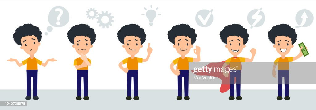 Set of character smart young man, businessman, manager or child, schoolboy, student icons thinks and finds a solution. Vector isolated illustration in cartoon style. Understands problem and finds successful solution to the problem through a good idea, off