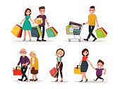 Set of characters and people shopping. Vector illustration of a