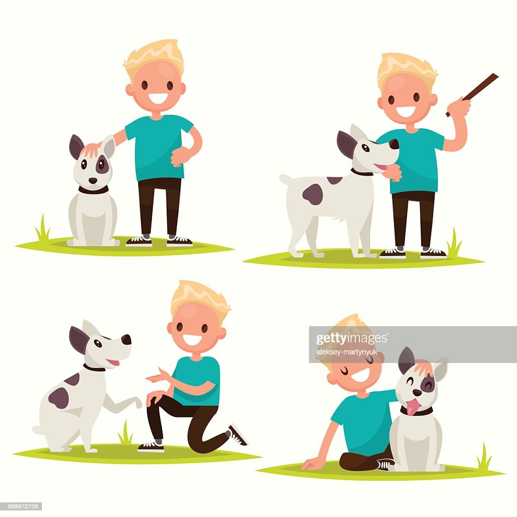 Set of characters. Boy with his beloved dog. Vector illustration