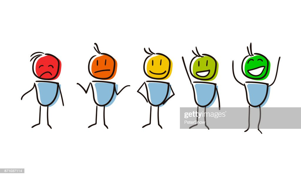 Set of characters conceptualizing Survey Assessment Analysis Feedback Appraisal with different feelings and colors.