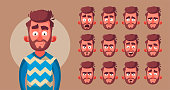 Set of character's emotions. Cartoon vector illustration