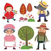 Set of characters from Little Red Riding Hood fairy tale
