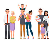 Set of characters showing the stages of development of the family.Mother, father, daughter,son.Vector illustration in a flat style. Happy young family.Man with a child on his shoulders. Pregnant woman