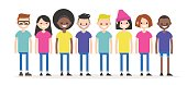Set of characters wearing colourful t-shirts. Diversity conceptual illustration. Multiracial group of young people. Flat editable characters, clip art