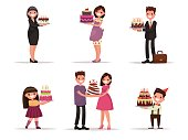 Set of characters with a cake. Office worker, businessman, house