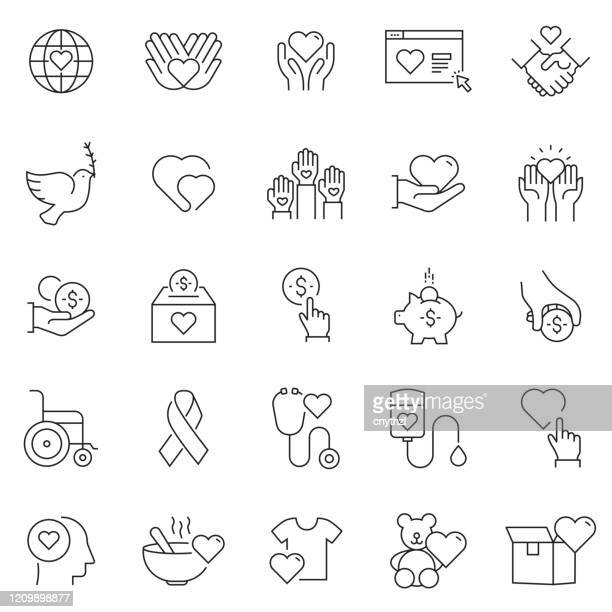 set of charity and donation related line icons. editable stroke. simple outline icons. - healthcare worker stock illustrations