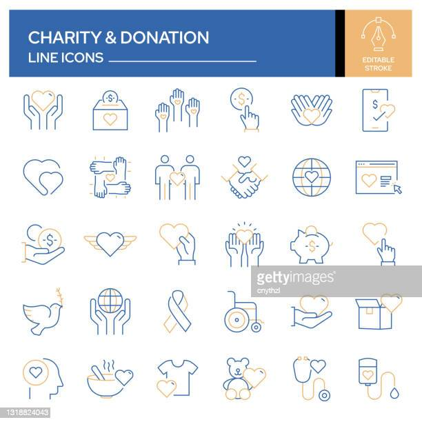 illustrazioni stock, clip art, cartoni animati e icone di tendenza di set di icone di linea correlate alla beneficenza e alla donazione. insieme outline symbol, tratto modificabile - organizzazione no profit