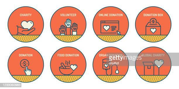 illustrazioni stock, clip art, cartoni animati e icone di tendenza di set di icone di linea correlate alla beneficenza e alla donazione. icone di contorno semplici. - donazione