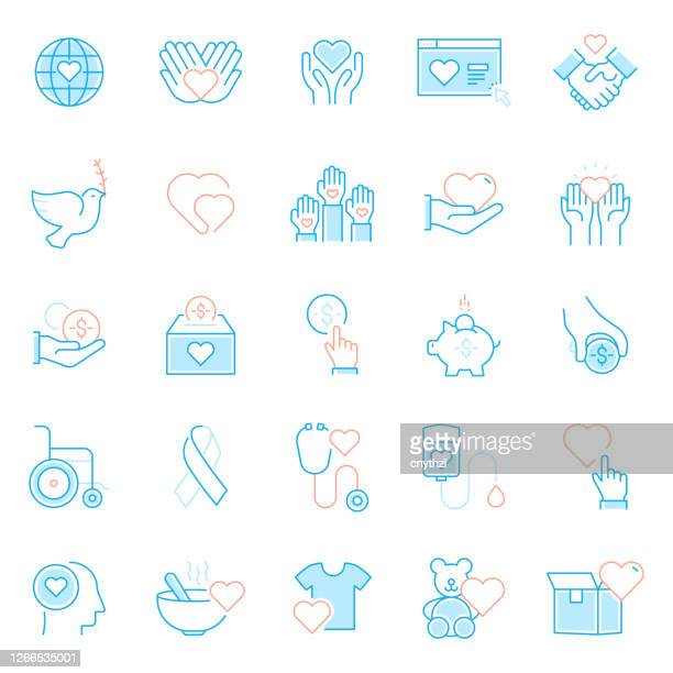 set of charity and donation related line icons. simple outline symbol icons. - giving tuesday stock illustrations